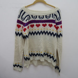 Pol Cream Boat Neck Side Slit Hi Low Knit Sweater